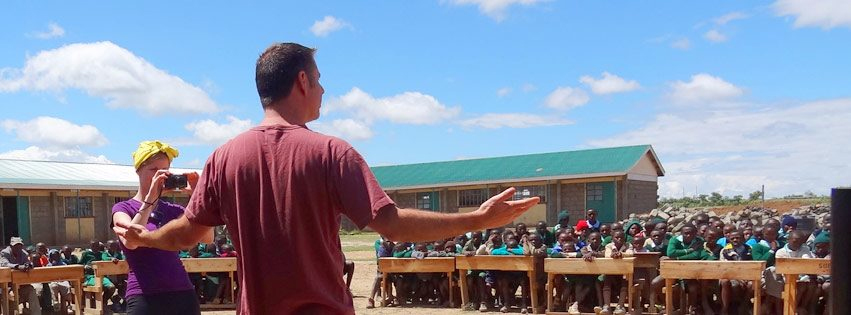 Talking to school kids in Solio, Kenya.