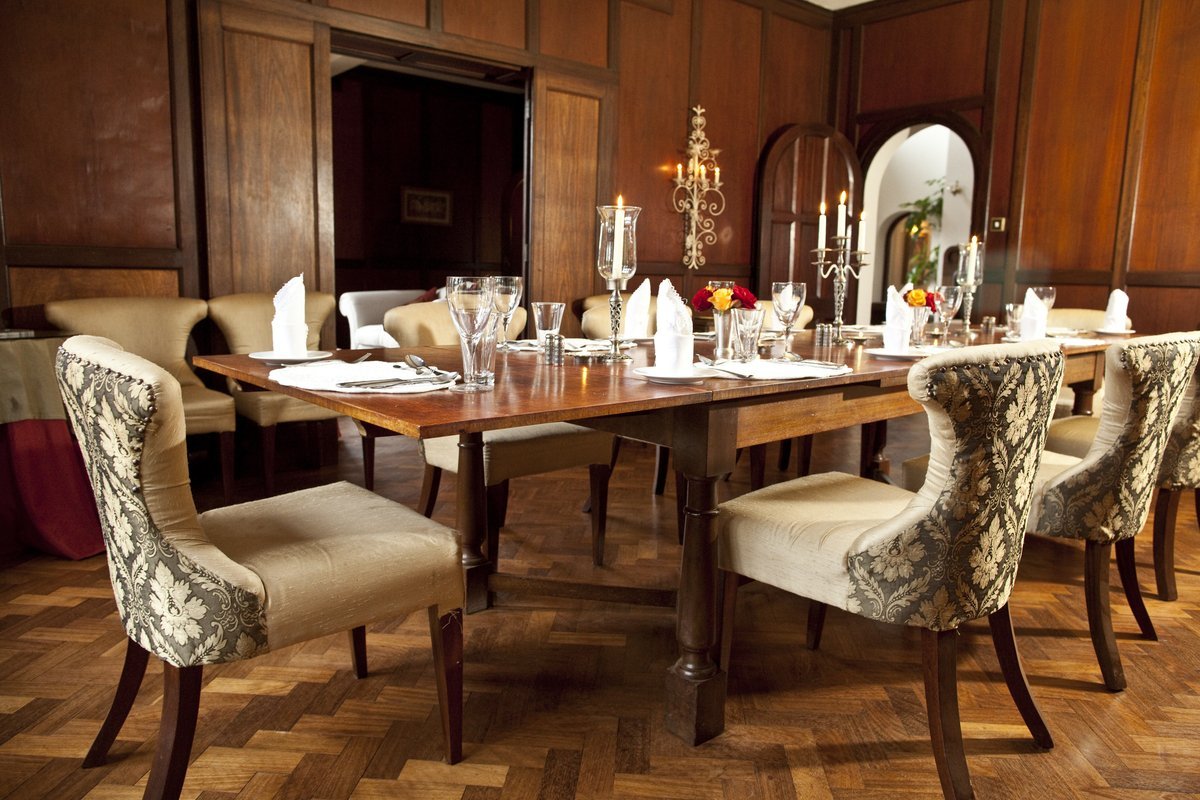 This is the dining room at Giraffe Manor.